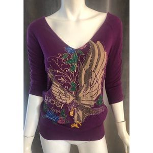 Coogi Couture Long Sleeve Purple Embellished Top